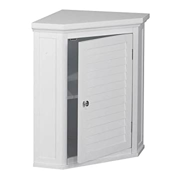 Elegant Home Fashions Sicily Corner Wall Cabinet With 1 Shutter Door White