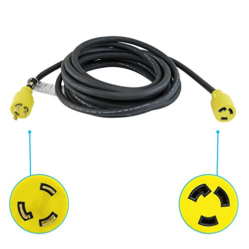 Houseables Extension Cord, Electric Wire, 3 Prong, 30 Amp, 250 Volt, Single, Black, 25 Ft, All Rubber, 10 Gauge, Heavy Duty, L6-30, Commercial, Electrical Power, Generator Cable, With Locking (250 Volt 25 Foot Cable)