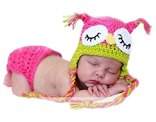 Pinbo Newborn Baby Photography Prop Crochet Knitted Owl Hat Diaper -