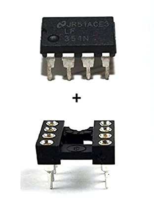 National Semiconductor LF351N IC Operational Amplifier & 8-Pin DIP Sockets with Machined Contact Pins (Pack of 10)