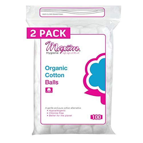 Maxim Organic Cotton Balls, 300ct, No Chlorine/Dioxin/Chemical, FDA/ICEA Approved, Biodegradable, Hypoallergenic, Soft Touch, Organic Cotton Balls Unbleached, Resealable Zip-Locked Bag, 2 Packs of 100
