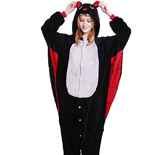 Plus Fleece Bat Costumes (FloYoung Unisex Cartoon Sleepwear Bat Cosplay Costumes Onesie Pajamas Flannel L)
