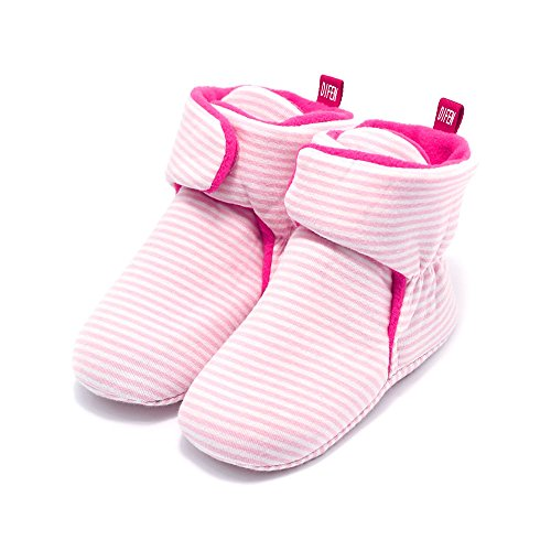 DIFEN Newborn Baby Infant Girls and Boys Fleece Cozy Booties with Non Skid Bottom