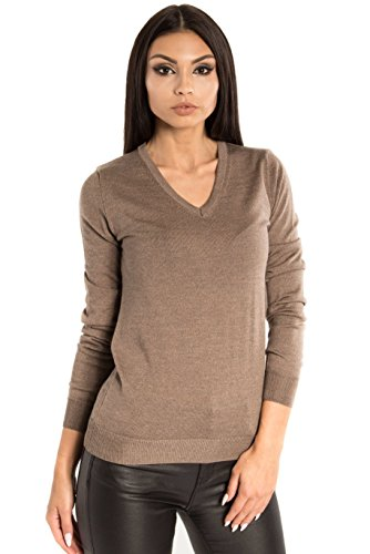 KNITTONS Women's Wool Classic Slim Fit V-Neck Sweater Pullover (Medium, Brown Melange)