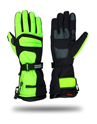 Hugger Glove Company Men's Textile Gauntlet Winter Warm Snowmobile Gloves (Medium, Black/Green)
