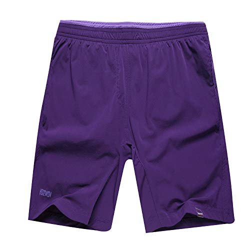 Hikewin Women's Athletic Running Shorts with Zip Pockets Quick Dry Sports Workout Short Pruple