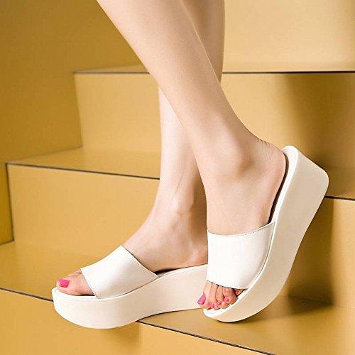 Plata Cuero Tacón Cuñas Y Casual Slender De Gruesa Suela Alto Sandalias Zapatillas Moda Pantuflas Planas 35 Mujer wZY1qvZxn
