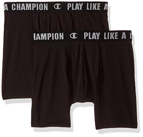 Champion Men's Ultra Lightweight Boxer Brief, Black/Black, Medium