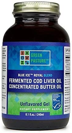 Amazon.com: Green Pastures BLUE ICE Royal Butter Oil/Fermented Cod Liver Oil Blend Gel - Non Flavored, 8.1 fl. oz.: Health & Personal Care