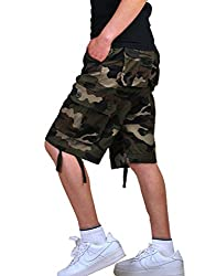 Olrain Men's Cotton Loose Fit Multi Pocket Cargo Shorts 30 Grey