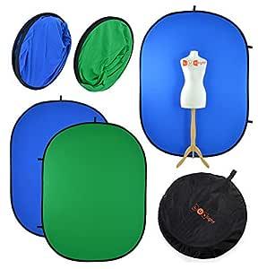 PhotoGeeks Fondo Chroma Key de2 m x 1,5 m, Verde y Azul ...