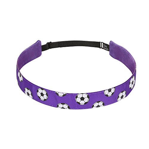 Non Slip Headbands for Girls | BaniBands Soccer Headband for Women | Fun Colors and Patterns, Unique No Slip Headband Design | Sports Themes for Soccer | Soccer-Purple