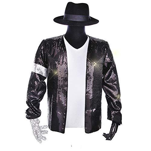 MJ Michael Jackson Jacket Costume Billie Jean Glove Hat Fedora Armband Sequin Jacket T-Shirt Set Black (Jacket/Glove/hat/T-Shirt-L) ()