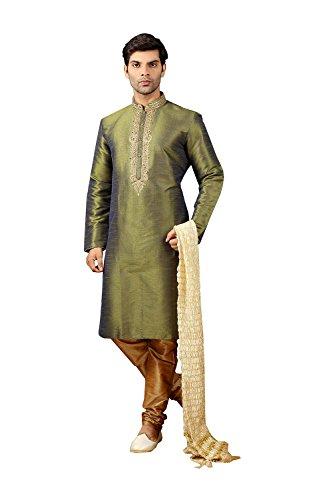 itsindiancrafty Mens Kurta Pajama Wedding Off White Designer Partywear Traditional In Mehandi Green(Cross Clr) Art Silk by itsindiancrafty