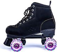 Magnitt Quad-Roller Skates for Women and Men, High-top Roller Skates Four-Wheel Roller Skates Double Row Shiny
