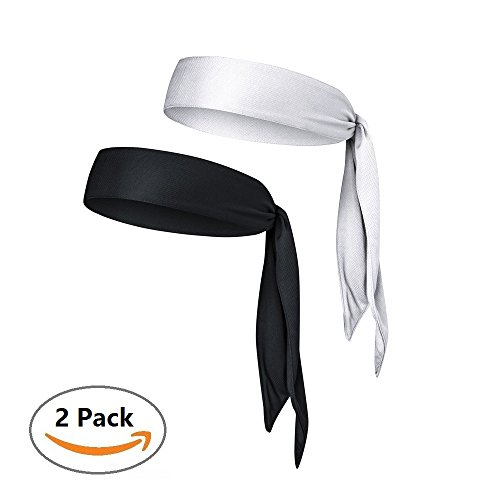 Quick-Drying Sports Headband - Keep Sweat & Hair Out of Your Face - Ideal for Running, Working Out, Tennis, Karate, Athletics & Pirates. Performance Stretch & Moisture Wicking Head Tie (Black & White)
