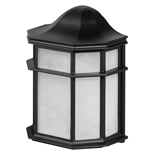 Globe Electric Melrose 1-Light Outdoor Weather Resistant Wall Sconce, Glossy Black Finish, Frosted PVC Diffuser, 44048 ()