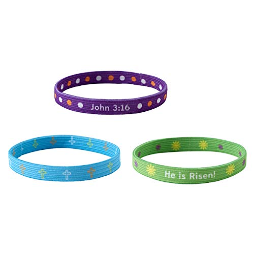 Assorted Color He is Risen Elastic Bracelets, 6 1/2 Inch, Pack of 3]()