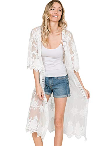 Anna-Kaci Womens Long Embroidered Lace Kimono Cardigan with Half Sleeves, Ivory, OneSize
