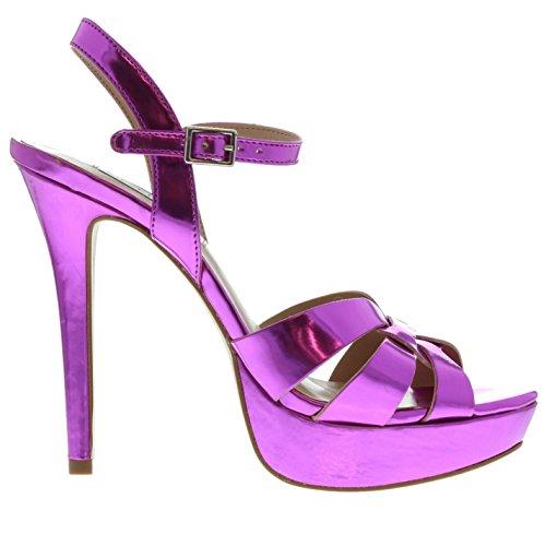 Steve Madden Womens Kaiden Heeled Sandals Ankle Strap Open Toe Buckle Platform Fuchsia UK 6.5