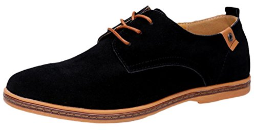 EOZY Richelieu à Lacet Cuir Pu Suédé Homme Style Anglais Chaussure De Ville Bureau Noir 48