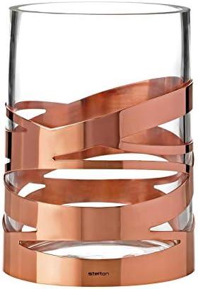 Stelton Tangle Vase – 16,5 cm, Designer Flowervase, Glass, Stainless Steel, Copper, x-56