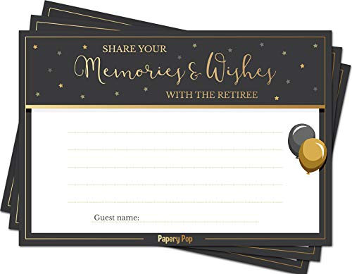 Share your Memories and Wishes with the Retiree (50 Pack) - Retirement Party Games Cards Ideas Activities Supplies