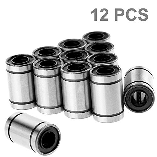 TeeGoo LM8UU Linear Ball Bearing Bush Bushing CNC Slide Bushing for 3D Printer, Double Side Rubber Seal, 8mm15mm24mm Nickel Plated (Pack of 12)