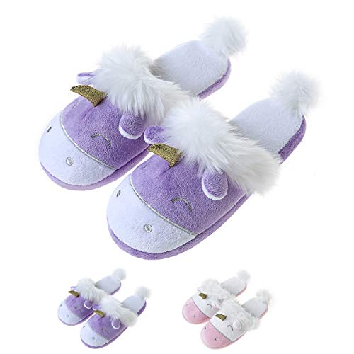 Unicorn Plush Slippers Women Animal Cartoon Comfy Cute Warm Lightweight Home Indoor