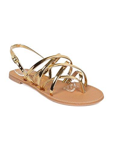- Qupid Women Metallic Leatherette Strappy Thong Slingback Sandal GF59 - Gold (Size: 6.5)