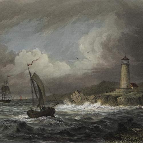 (Maine coastal Desert Rock lighthouse view 1852 lovely antique hand color print)