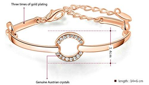 Epinki, Plaqu¨¦ Or Femme Bracelet Ronde Zircone Cubique Polonais Cercle Lien Or Rose