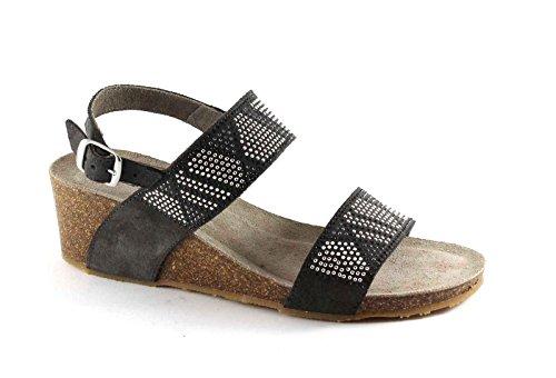 Grünland PÁGINA SB0703 sandalias de cuña de las mujeres gris oscuro pulsera del Rhinestone Grigio