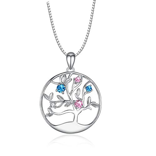 - LONAGO Sterling Silver Necklace Disc Pendant for Mother Grandma Aunt Wife Daughter Mom Family Tree of Life Charms