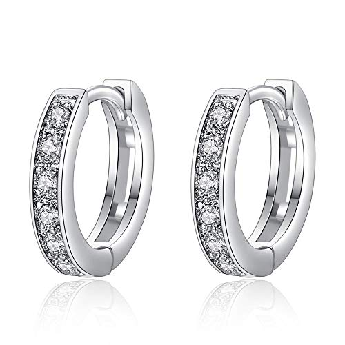 18k White Gold Crystal - SIRNJ Womens 18K White Gold Round Hoop Earrings With Crystal Cubic Zirconia Gift Boxed