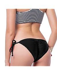 CROSS1946 Women Lady Brazilian Tie-Side Bikini Bottom Swimsuit Beachwear Bathing