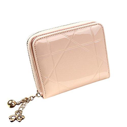 Portafoglio Donna, DDLBiz® Donna piccola borsa in pelle frizione portafoglio cerniera corto della carta sacchetto del supporto (rosa)