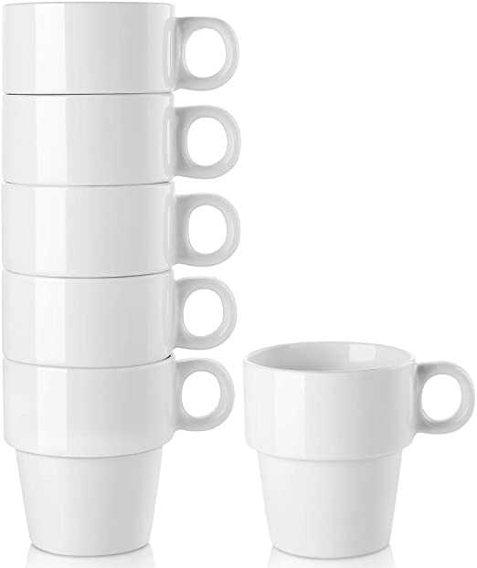 LIFVER Stackable Coffee Mugs Set of 6, 16 Ounce Porcelain Coffee Cup Sets for Coffee, Milk, Tea