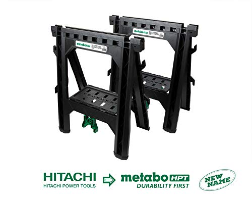 Metabo HPT 115445M Portable Folding Sawhorses, Heavy Duty Stand, 4 Sawbucks, 1,200 Pound Capacity, Built-In Cord Hooks and Shelves, 2-Pack