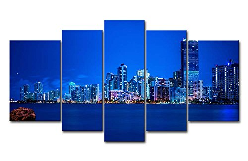 nting Miami Night Skyline With Blue Light Prints On Canvas The Picture City Pictures Oil For Home Modern Decoration Print Decor For Bedroom ()