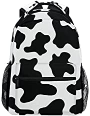 Casual School Backpack Black And White Cow Print Lightweight Travel Daypack College Shoulder Bag for Women Girls Teenage