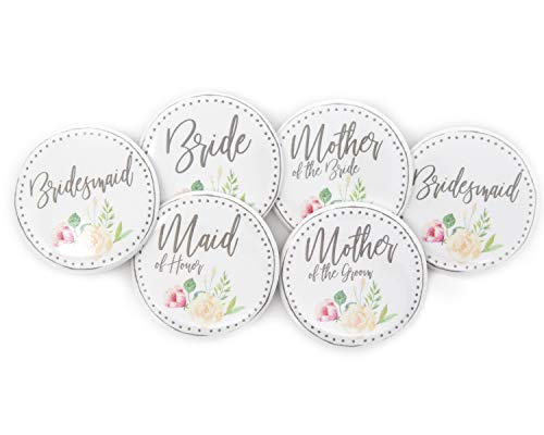 Bride to Be Bridal Shower Buttons Family Pin Set of 6 2.25