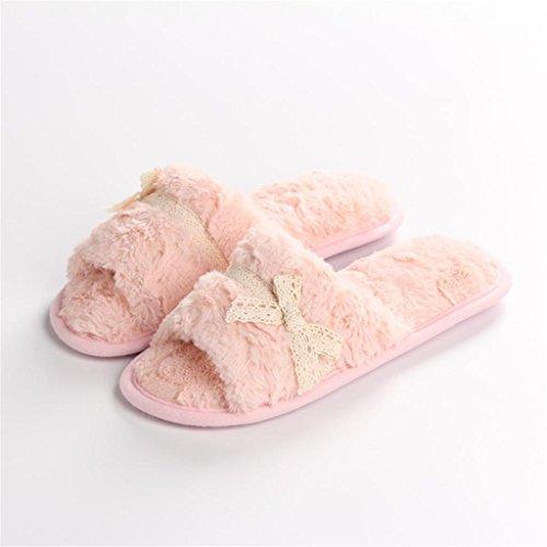 Casa de estar felpa cordón damas casa suave drag zapatillas pink Super por lace de Zapatillas mouth xvwTq4Rfx