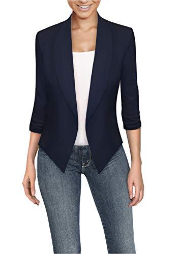 Womens High Low Office Open Front Blazer JK1133X E3400 Navy 1X