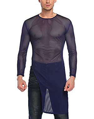 Men's Christmas Sexy See Through Long Sleeve Mesh Clubwear Party Long Tee Shirt