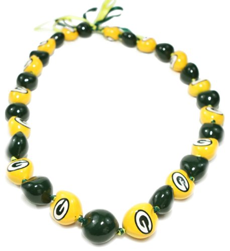 NFL Green Bay Packers Go Nuts Kukui Nut Lei Necklace]()