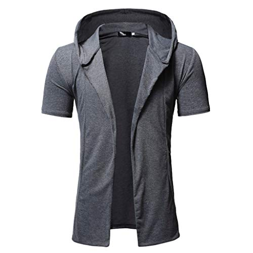 Men Short Sleeve Cardigan, Male Simple Loose Trench Outwear Fashion Hooded Solid Blouse Casual Short Tops M-3XL