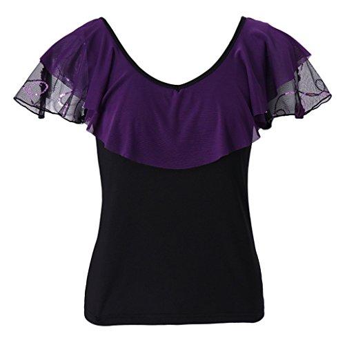 Prettyia Women's Latin Ballroom Salsa Chacha Dance Bouse Tops Stage Dance costume - Purple, - Ballroom Top