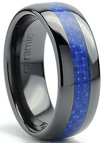 8MM Dome Men's Black Ceramic Ring Wedding Band With Blue Carbon Fiber Inlay Size 9