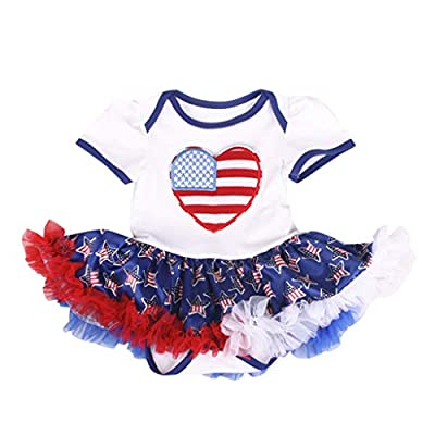 SSZZoo Newborn Baby Girls 4th of July Outfits Stars Striped Romper Tulle Dress Festive Sets: Clothing